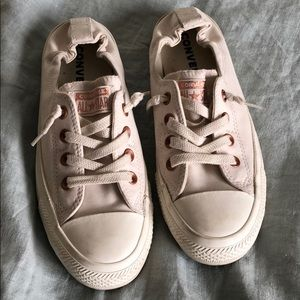 Converse cream and rose gold shoes